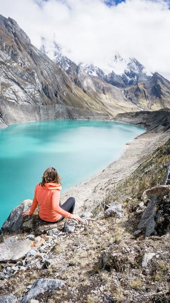 Huayhuash cordillera glacial lake