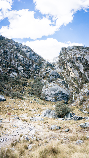 Laguna Churup vertical granite wall to ascend